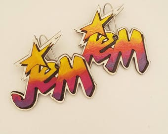 Jem Earrings, Jem and the Holograms, 80s, Made in Australia, Hand made, Cartoon, Earrings, Gift, statement, jewellery