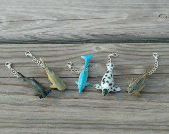 Sea life TN charm, Dolphin charm, Fish charm, Travelers notebook charm, Shark charm,  Fish zipper pull, Gift for child, Planner charms