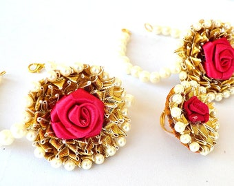 Anu Traders - Gota Patti Magenta Flower Bracelets And Ring (3 Items) For Women & Girls