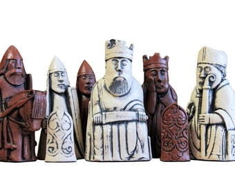Lewis Ivory & Teak Chess Pieces