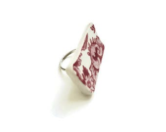 statement jewelry, big ring, valentine jewelry, red jewelry, chunky ring, statement ring, broken china, vintage, handmade jewelry, gift