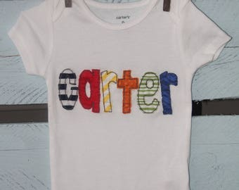 Personalized applique name shirt/onesie