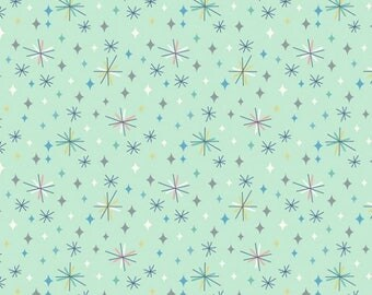 Quilting Cotton - Lewis & Irene - So Darling - Retro Stars on Mint - 1/2m piece