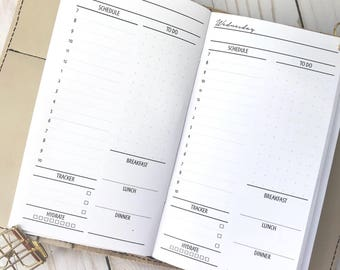 Traveler's Notebook | Day On One Page | DO1P| Hourly| Printed Planner Inserts| Personal Size TN