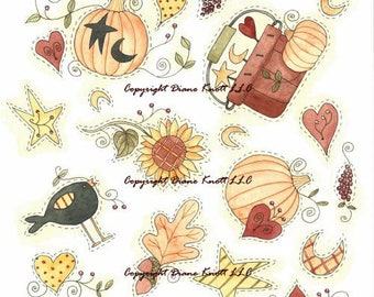 Autumn Confetti Clip Art Download for Scrapbooking, Journaling, Decoupage, Planners, Paper Craft, Cards, Etc. by Diane Knott LLC