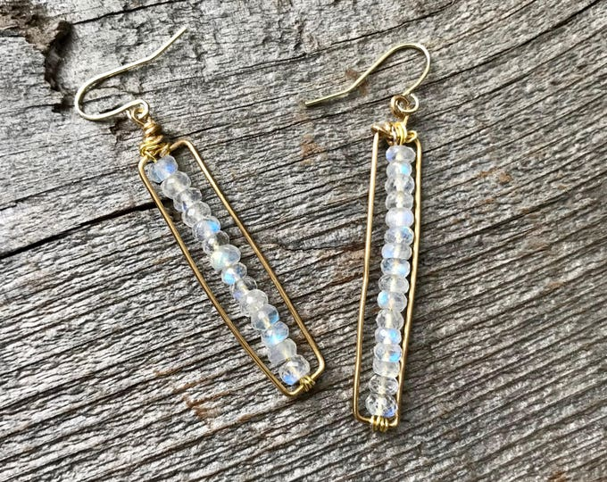 Moonstone Rectangle Geometric Earrings - Minimalist Crystal Jewelry