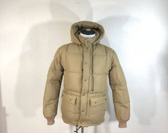 80's vintage eddie bauer goose down hooded jacket made in usa size XS