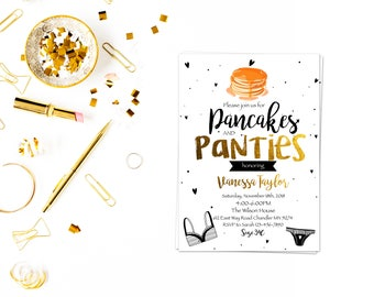 Pancakes and panties lingerie card,Lingerie Shower,Bachelorette Invite,,Pancakes and Panties Bridal Shower,Wedding, Bridal Shower