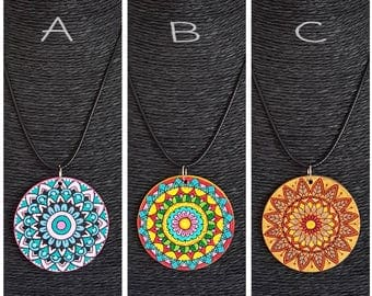 Necklaces with colorful handpainted wooden pendant | MBGcreative