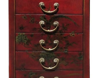 20% Sales Chinese Red Artificial Leather Floral Graphic Five Drawers Night Stand End Table f291E