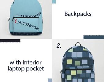 Backpack,laptop backpack,backpack for collage,blue backpack,designer bag,school backpack,rucksack,math,gift,ocean,wave,geometric backpack