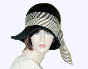 Custom Black Vintage Gatsby Miss Fisher Asymmetrical cloche Downton Abbey hat