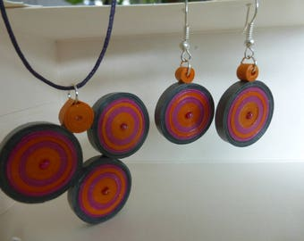 Rolled paper necklace and earrings