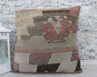 Handmade Cushion Vegetable Dyed Turkey Pillow 18x18 Pale Color Hand Woven Vintage Kilim Pillow Decorative Boho Pillow Turkish Bolster