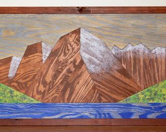 Large Maroon Bells Rustic Mountain Wall Hanging Mosaic Art