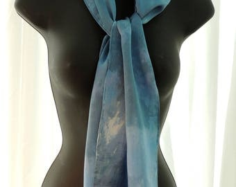 Ice Dyed Blue Silk Scarf