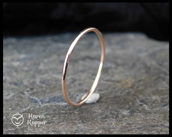 14k Solid Rose Gold ring, smooth finish, thin ring, 1mm ring, made at your size. Skinny ring, stacking ring. Wedding band, engagement ring.