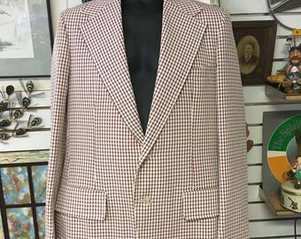 Haspel, 1960's, suit jacket, red plaid, sports coat, hipster, rockabilly
