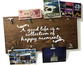 a good life is a collection of happy moments - memory board - photo display sign - photo wood sign - photo display sign - photo board