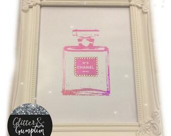 Shabby Chic Foil diamonte Chanel Bottle frame