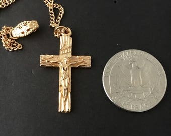 "Vintage gold crucifix, Karatclad gold crucifix, religious pendant, religious cross,  childs or ladies crucifix, 1 1/4"" lg and 16"" gold chain"