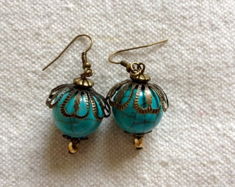 EARRINGS BRONZE AND TURQUOISE
