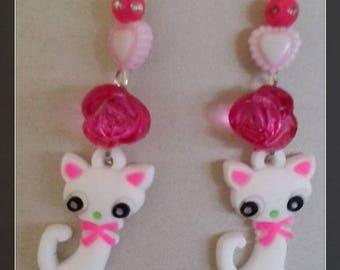 Earrings white kitten