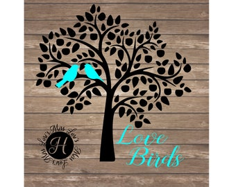 Love birds and tree Guest book tree SVG DFX  Love svg, Wedding svg, Guest book tree svg, COmmercial license, Birds svg