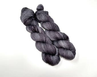 Slate, fingering yarn, hand dyed yarn, indie dyed yarn, hand painted, sock yarn, tonal yarn, dark grey, tonal gray