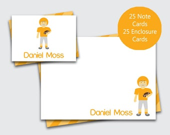 Football Personalized Thank You Notes / Boys Stationery Set / Note Cards for boys / Sports Stationary (Item #1708-023FCC)
