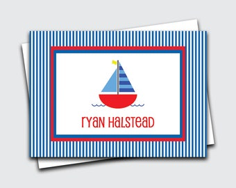 Kids Sailboat Calling Cards / Boat Gift Enclosure Card / Birthday Gift Tags for Boys / Name Cards (Item #1702-033CC)