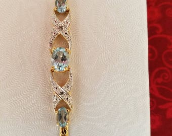 Sterling Silver Bracelet with Aquamarines and Genuine Diamonds
