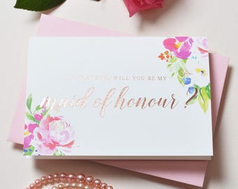 Will you be my Maid of Honor - Maid of Honor proposal - Maid of Honour gift - gold foil Maid of Honour card - Maid of Honor Proposal Card