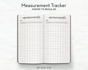 Standard TN, Measurement Tracker, Fitness Planner, Health Tracker, Weight loss chart, Fitness Journal, Travelers Notebook, Midori