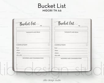 A6 TN, Bucket List, Midori TN A6, Travelers Notebook, Midori Insert, Wedding Bucket List, Bullet Journal, To Do List, TN Insert