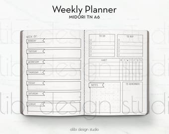 A6 TN, Weekly Planner, Week on 2 Pages, Travelers Notebook, Weekly Insert, Midori Insert, TN Inserts, Midori, Habit Tracker, To Do List