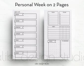 Weekly Planner, Personal Planner, Week on 2 Pages, Weekly Inserts, Printable Planner, Personal Insert, Habit Tracker, Personal Filofax, Meal