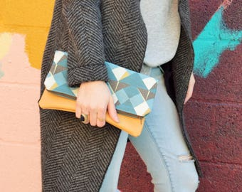 Fold Over Clutch-Genuine Leather-teal Zipper Clutch, gift for her,- day- evening