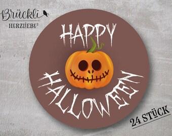 24 labels / stickers / labels Halloween / Pumpkin