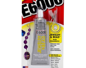 E6000 Jewelry & Bead Glue with 4 Precision Tips - 1 ounce 29.5 mL