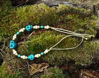 Blue skulls bracelet ~ handmade & OOAK