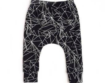 baby pants, toddler pants, black and white pants, modern pants, monochrome pants, trendy harem pants, geo print pants