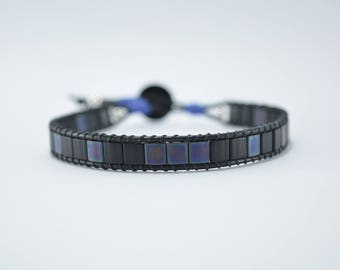 Mens leather bracelet, and blue glass beads