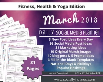 Social Media Planner - Fitness Coaches - 10 MARCH Images, 93 post ideas, 31 marketing tips, 10 blog post & 5 promo ideas - Beachbody coaches