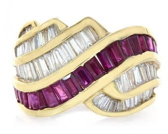 3.75 Carat Diamond and Ruby Cocktails Ring 14K Yellow Gold