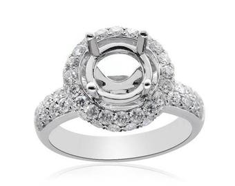ON SALE 1.28 Carat Diamond Engagement Ring 14K White Gold Setting