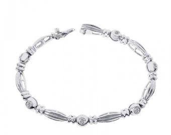 ON SALE 0.75 Carat Diamond Fancy 14K White Gold Link Bracelet