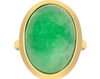 Cabochon Cut Jade Ring 14K Yellow Gold