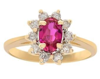 0.10 Carat Diamond & Oval Cut Man Made Ruby Ring 14K Yellow Gold