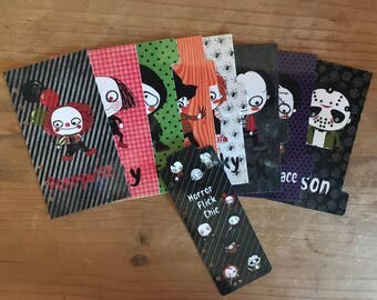 Horror film Halloween themed planner dividers. Each divider has a different character.  Fall planner dividers. Horror flic